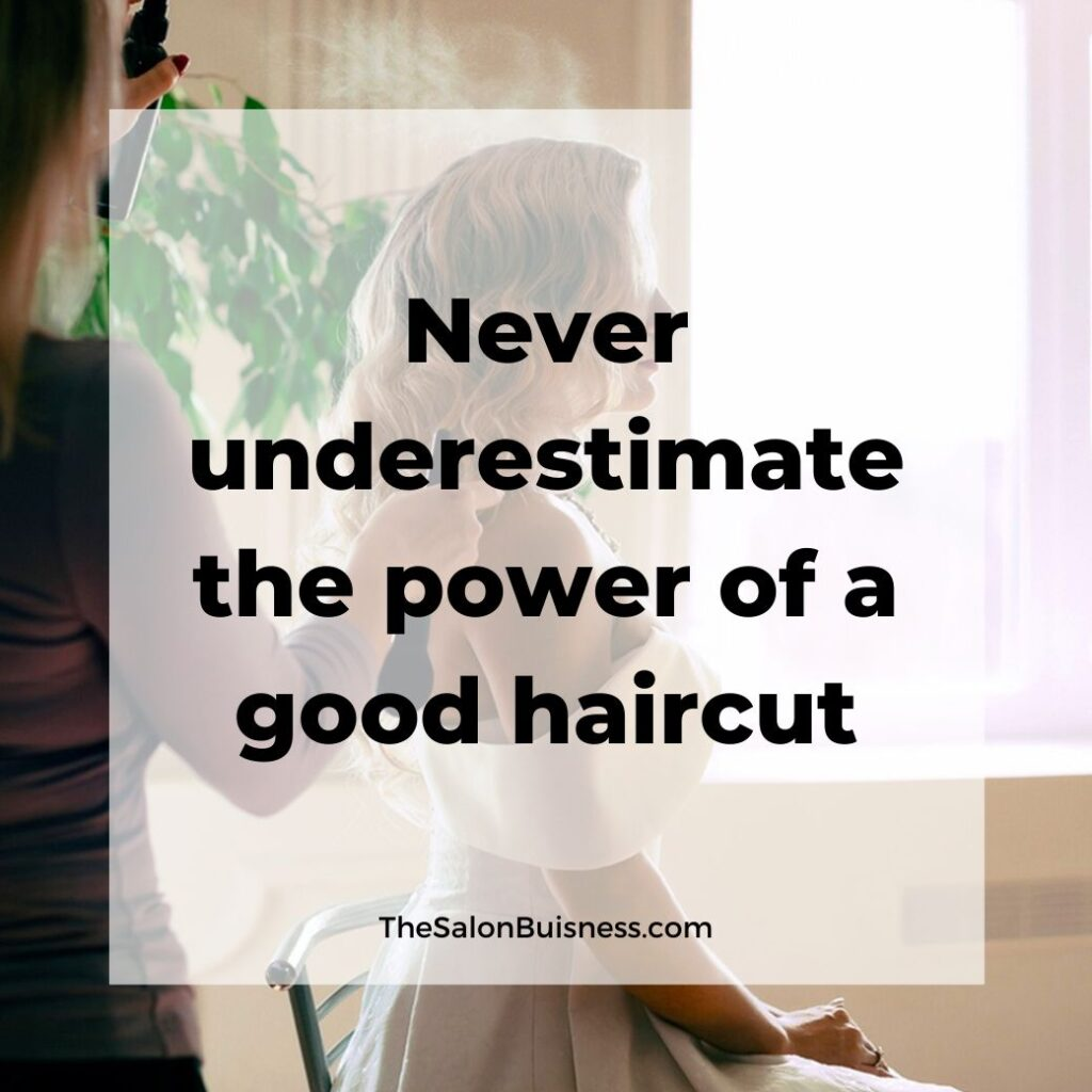 motivational haircut quote - woman with blonde hair done