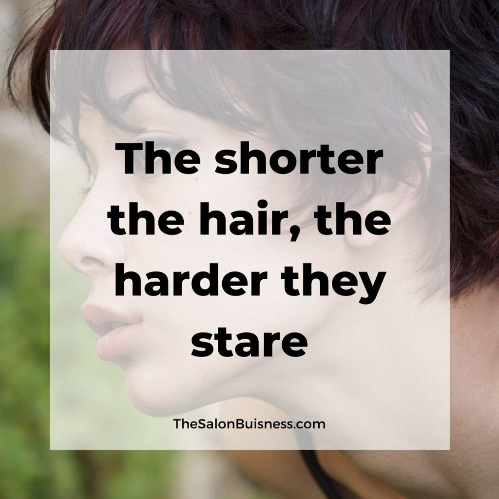 short hair quotes  - woman with short blown hair in nature