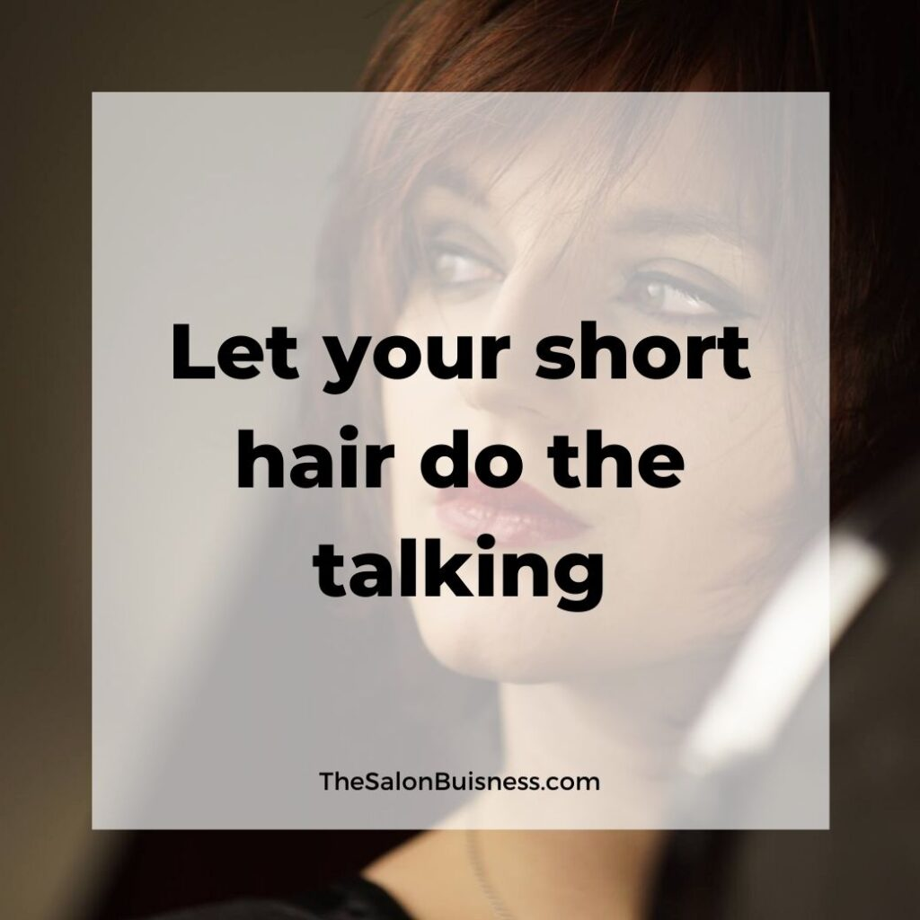 short hair quotes  - woman with short red hair dark eye makeup & red lipstick