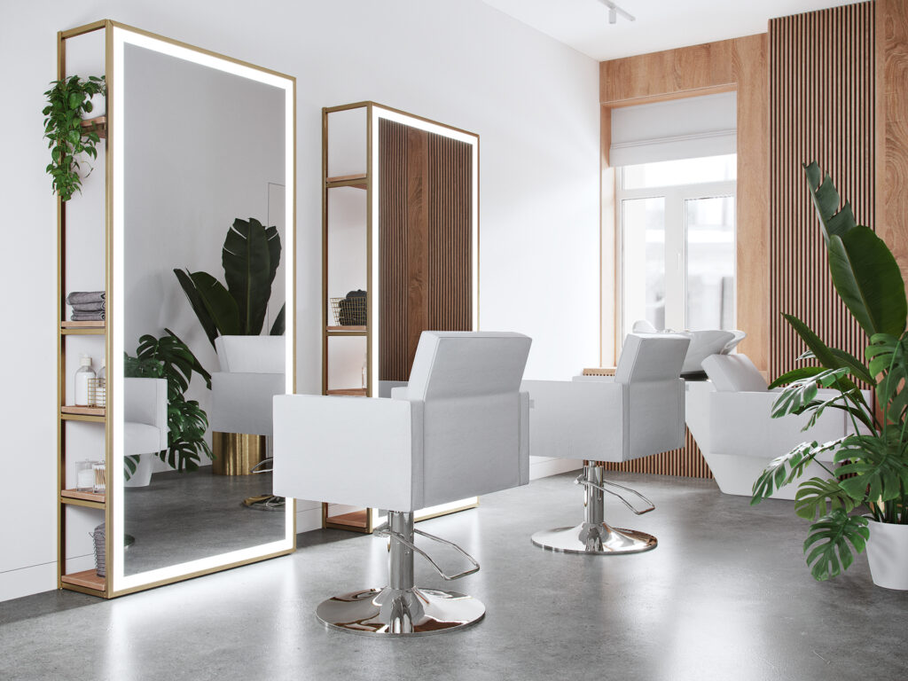 White hair salon chairs and station design