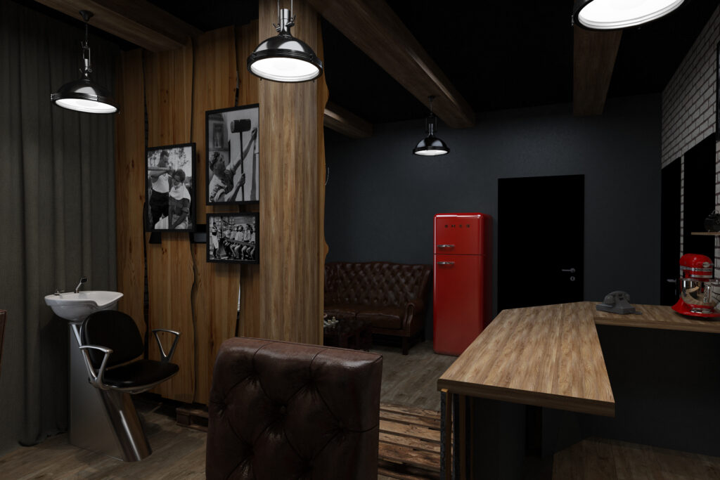cabin style barbershop with wood panels & brick walls & antique style. Red & black color scheme with black & white photos on wall.