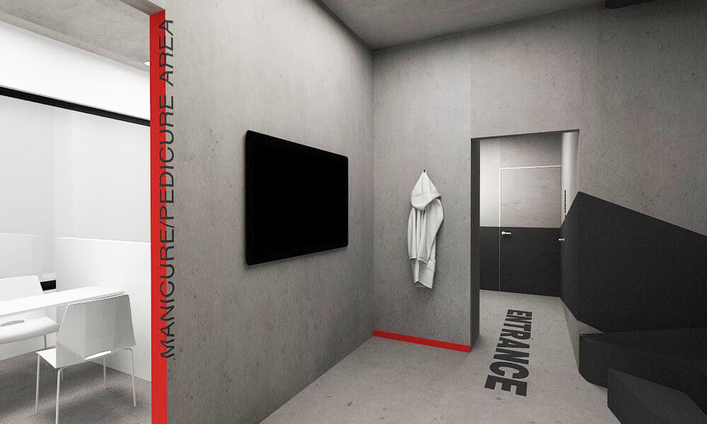 grey, white, red & black themed barbershop. Black geometrical couch with white client chairs & black counter. Design like a gym.
