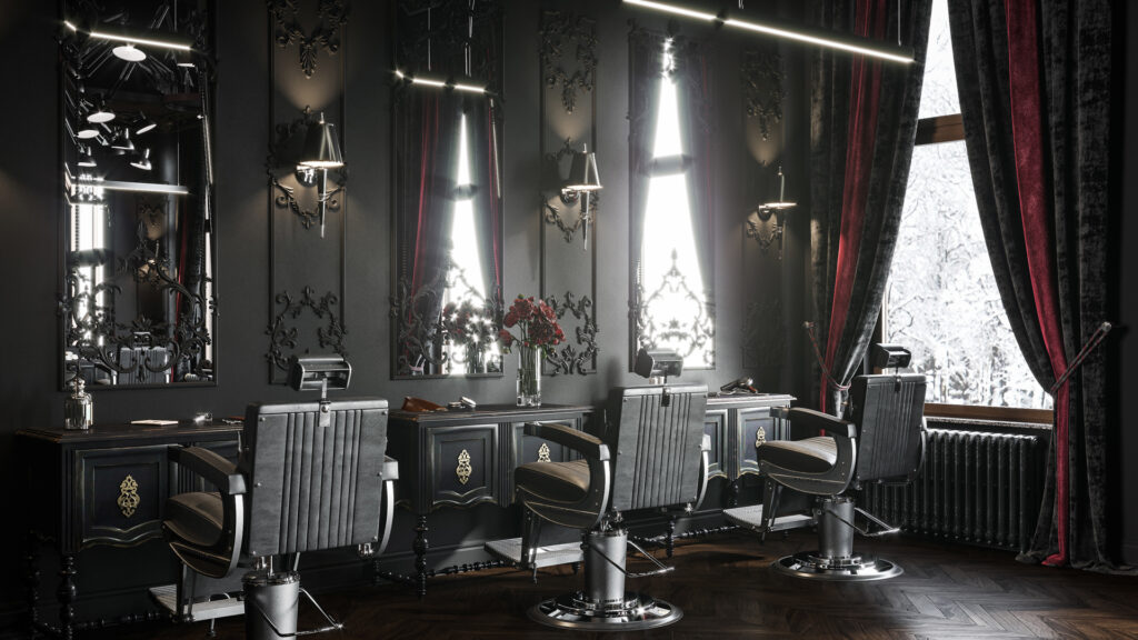 Gothic victorian barbershop  - black themed room with & red & black curtains with flowers & carvings on wall