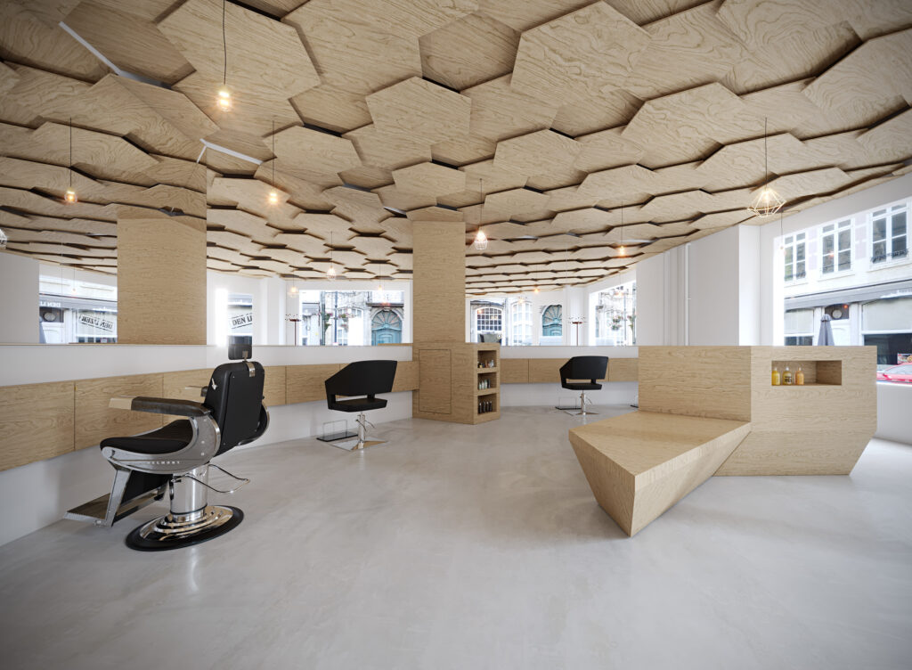 clean white & beige color scheme. Honey comb shapes on the ceiling with black chairs.