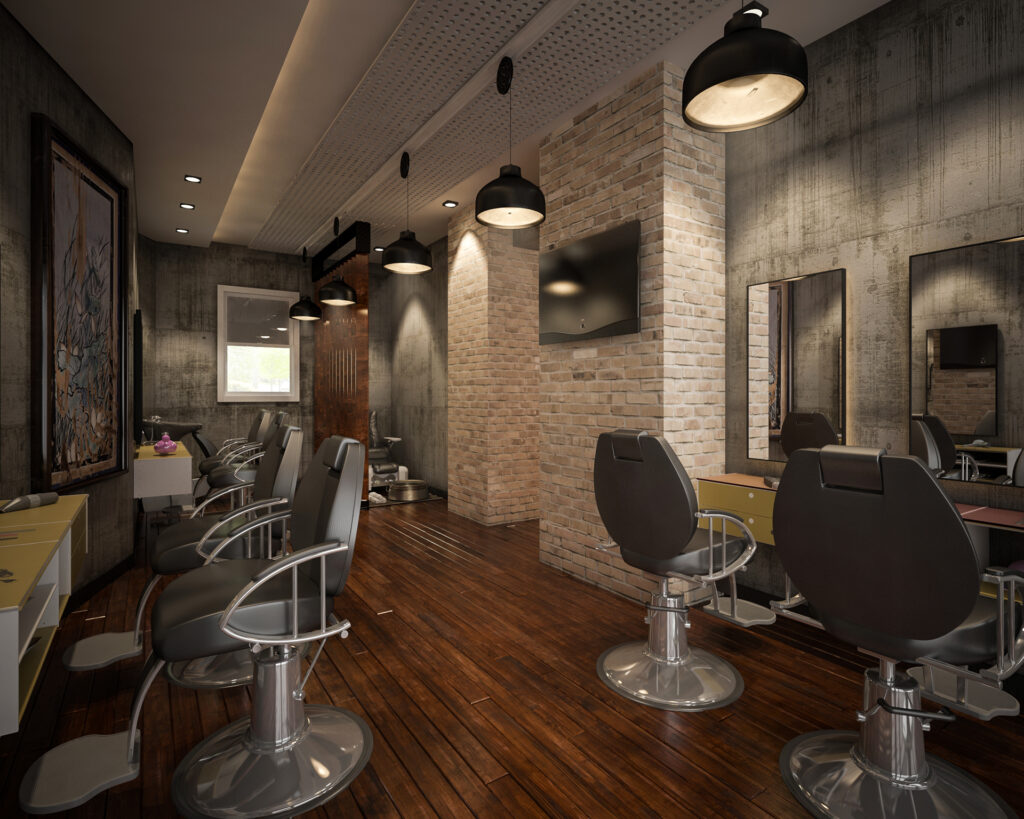 Brick & cement themed barbershop with brown paneled floor & circular chairs
