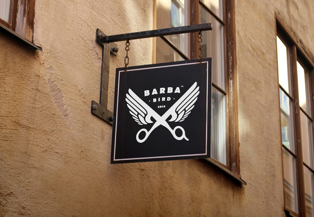 barba bird barbershop salon signage ideas