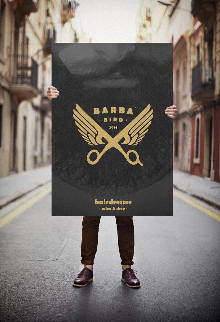 barbabird barbershop salon logo
