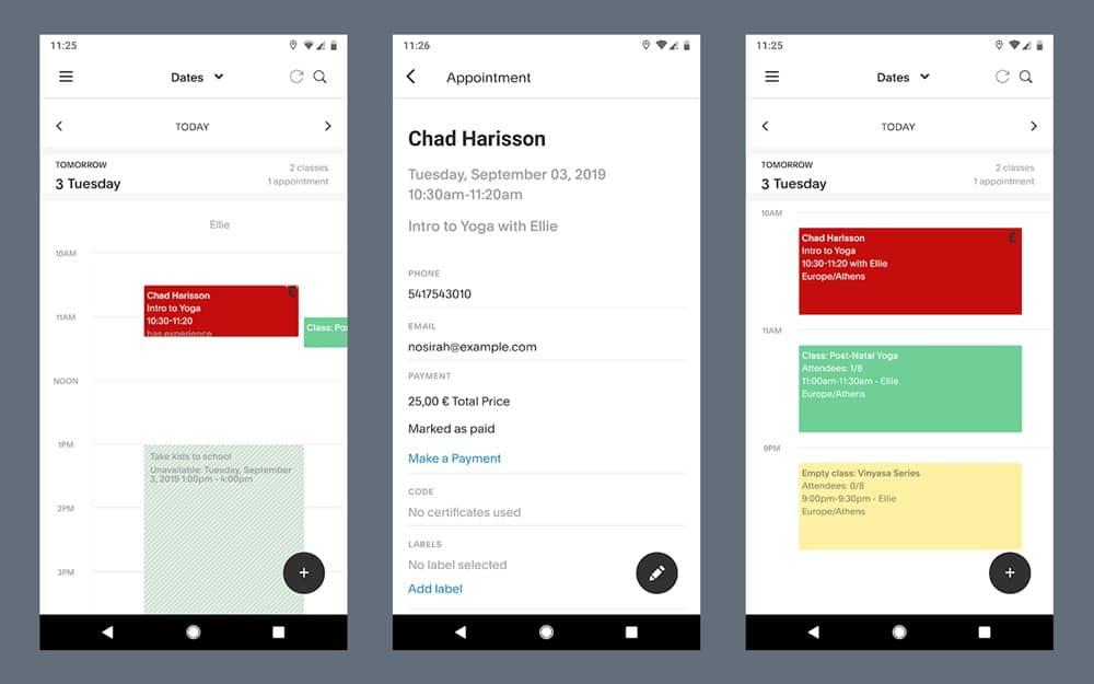 Screenshots of Acuity Scheduling app