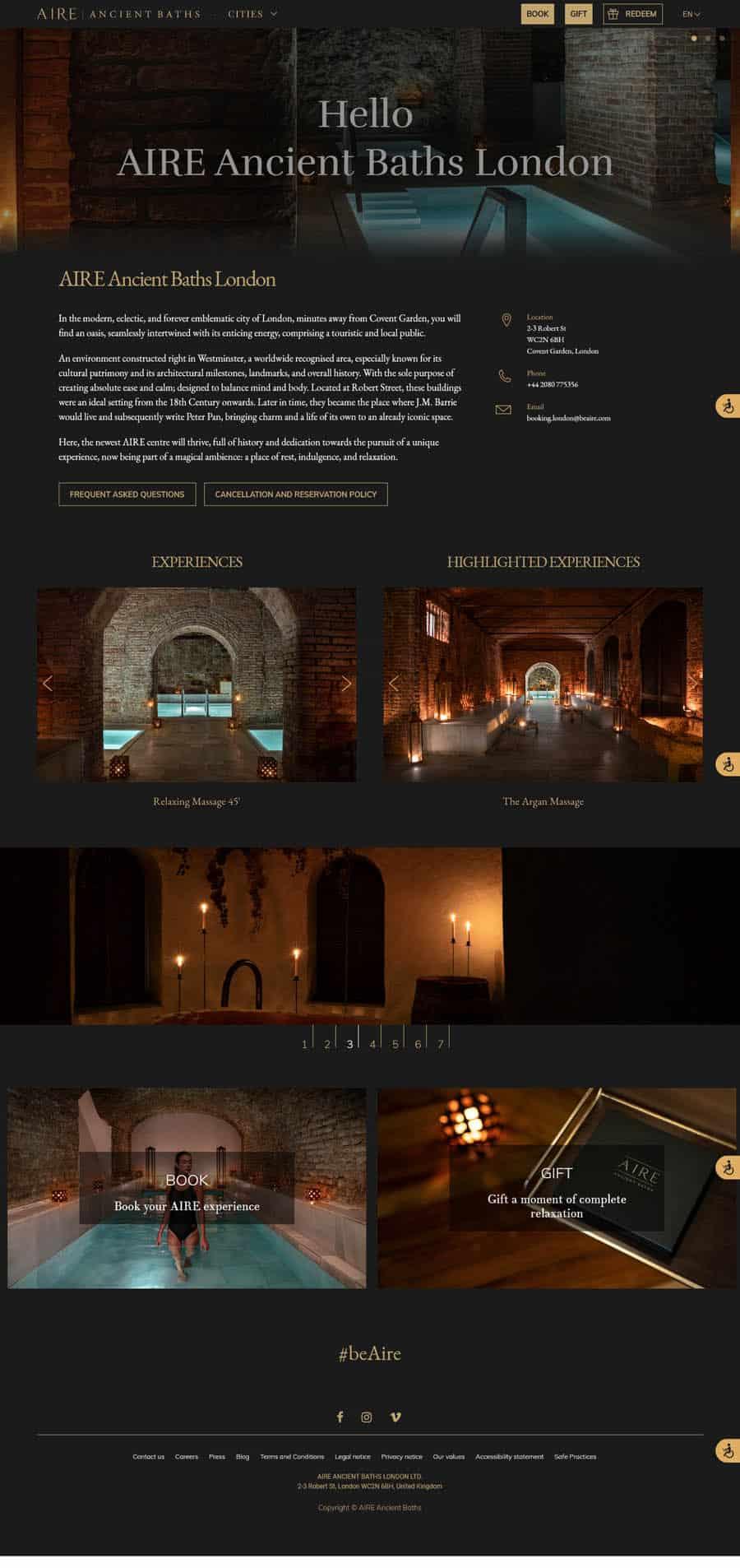 Spa website design AIRE Ancient Baths London