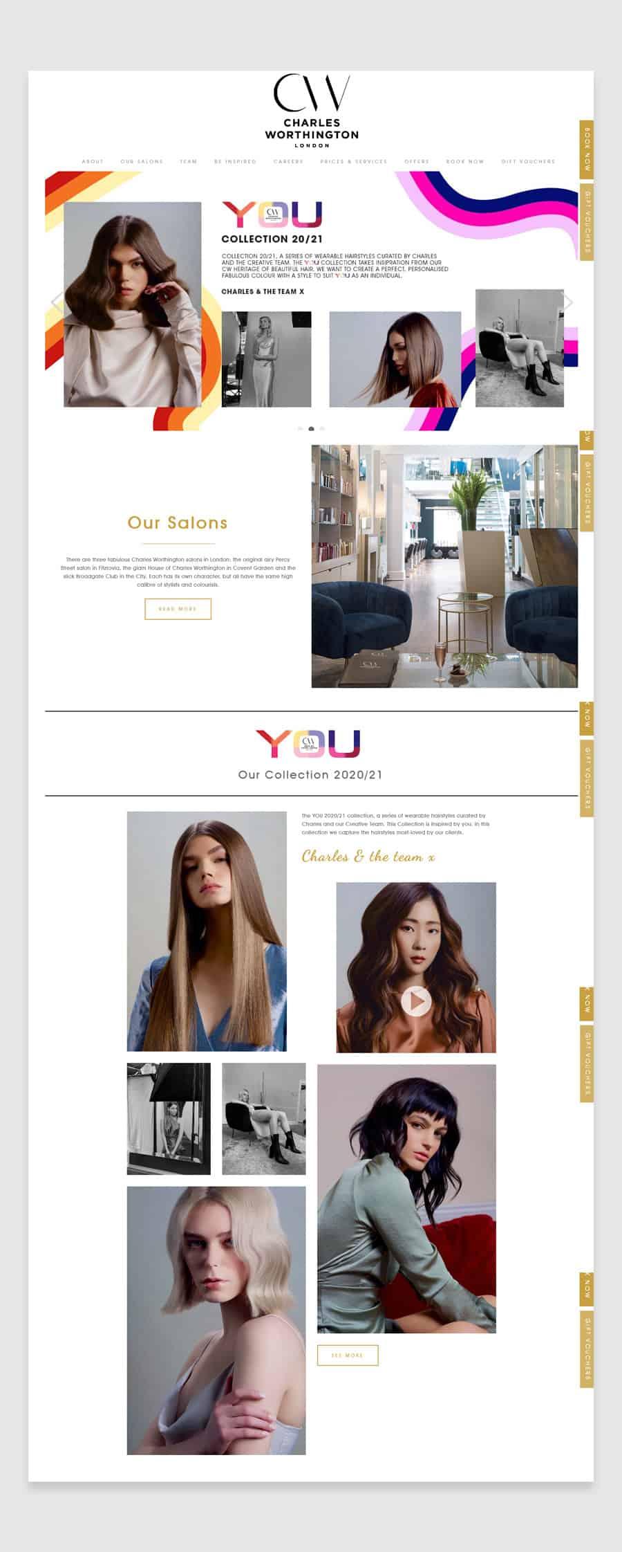 Charles Worthington London Salon - Hair salon website design example