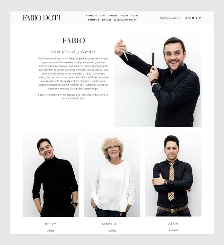 Fabio Doti - Hair salon website design example team page