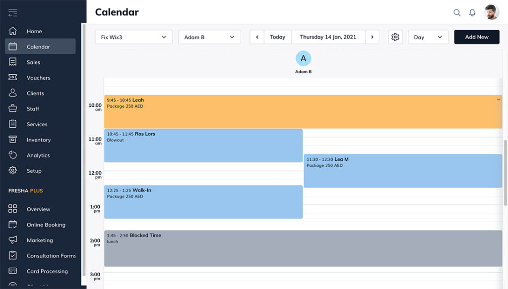 Fresha appointment calendar view