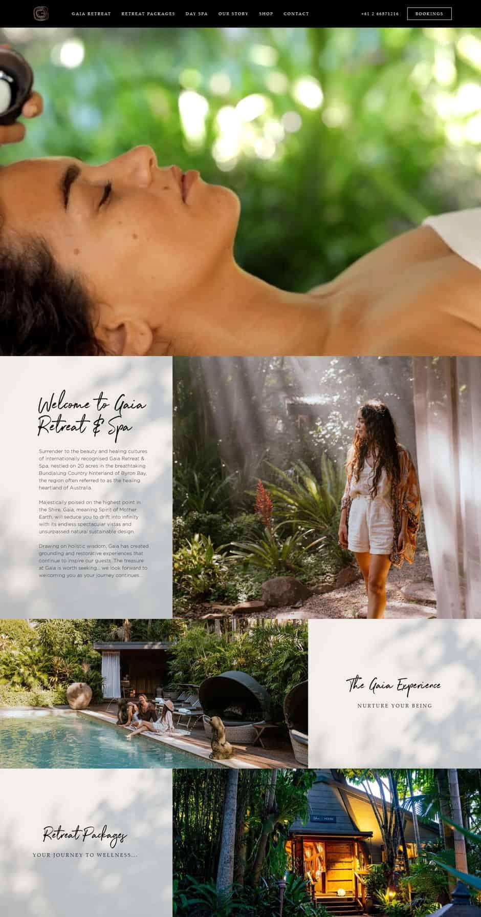 website design Gaia Retreat and Spa