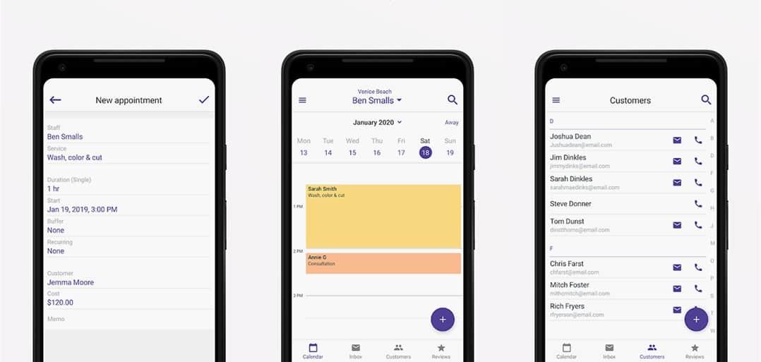 Screenshots of Genbook salon software app