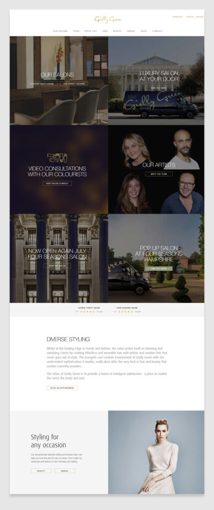 Gielly Green Salon - Hair salon website design example