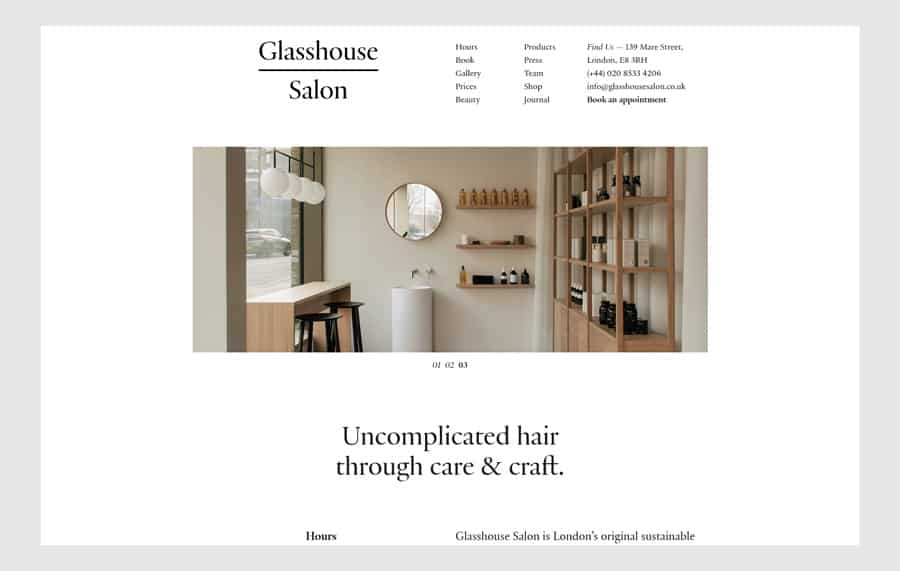 Glasshouse Salon - Hair salon website design example