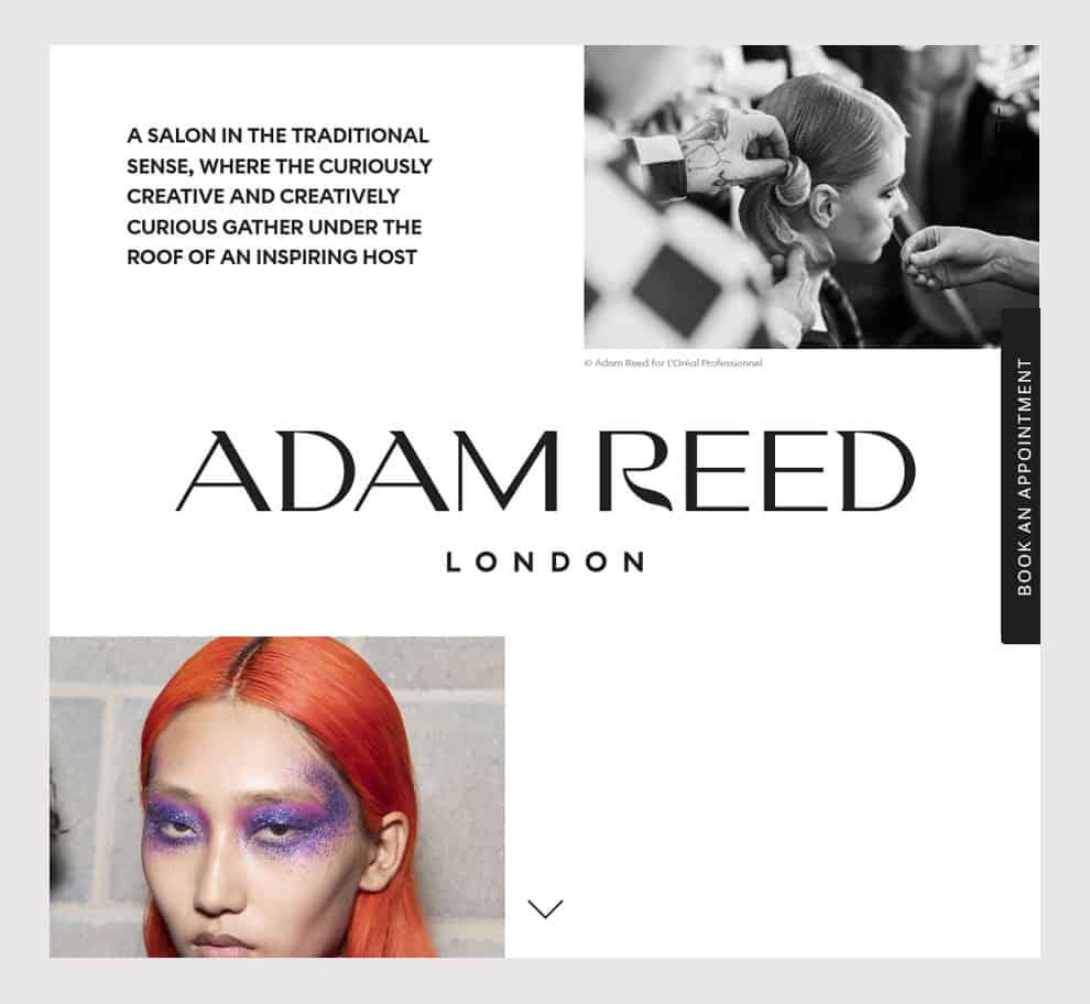 Adam Reed London Hair salon homepage design example