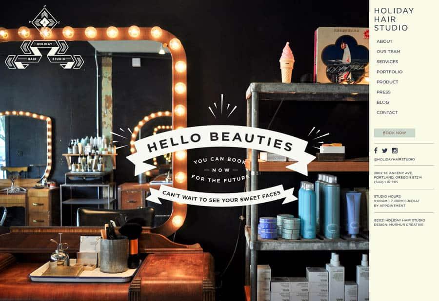 Holiday Hair Studio - Hair salon website design example