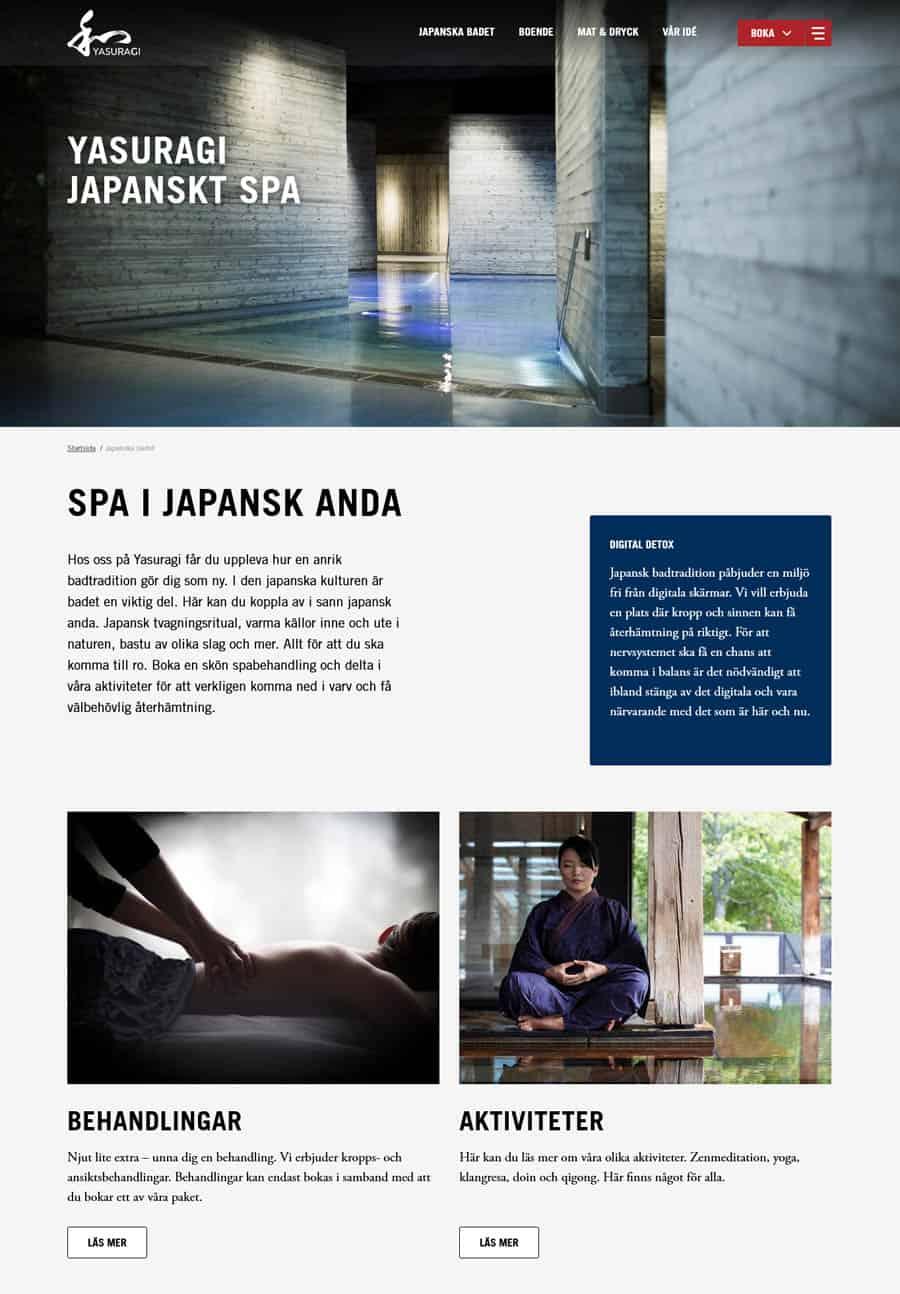 Spa website design Yasuragi