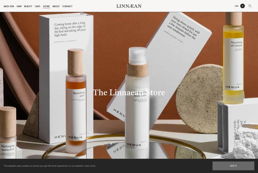 Linnaean Hair salon website design example e-commerce