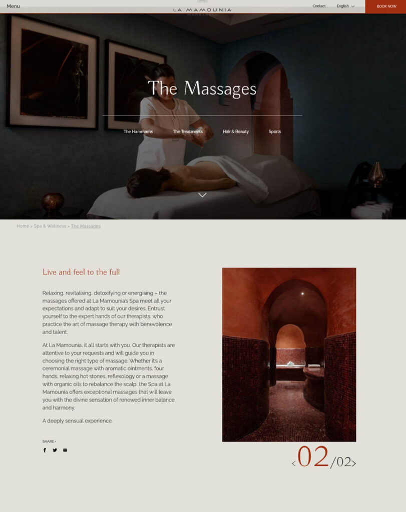 Spa website design La Mamounia Marrakech