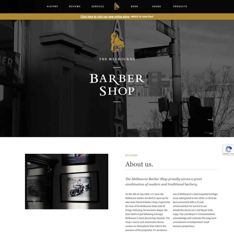 Website: The Melbourne Barber Shop