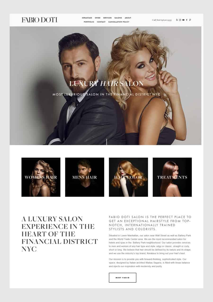 Fabio Doti - Hair salon website design example