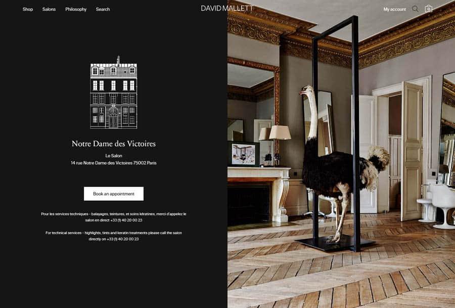 David Mallet Hair Salon Website example