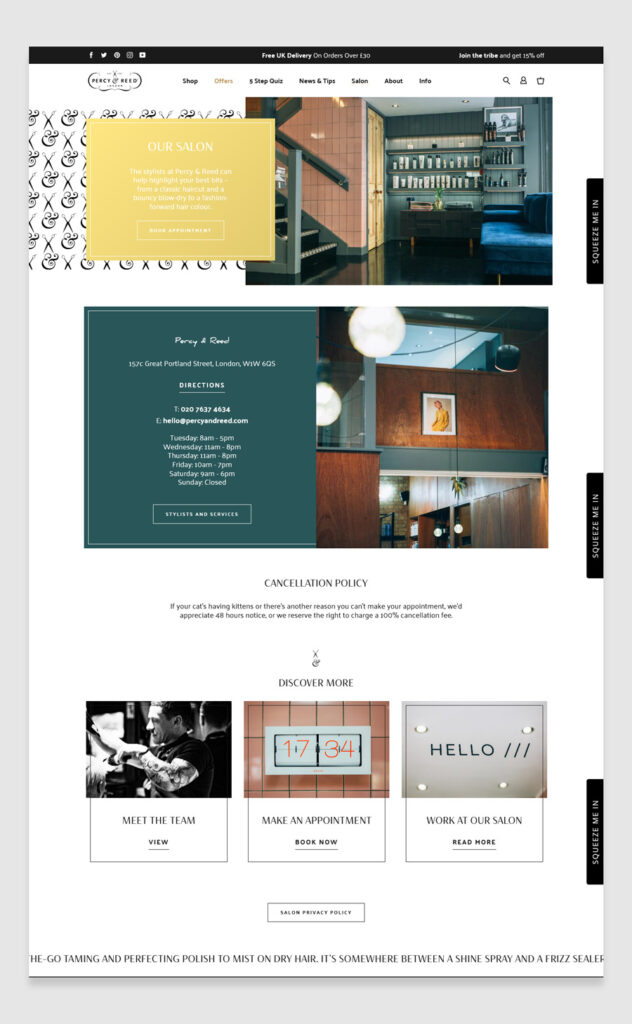 Percy & Reed Salon Website example