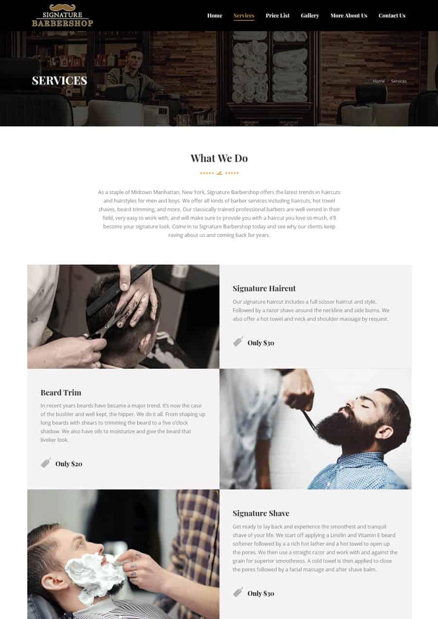 Website: Signature Barbershop