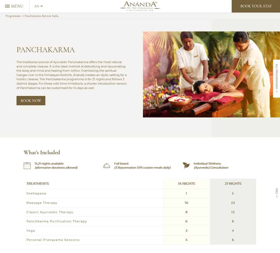 Ananda Spa web design