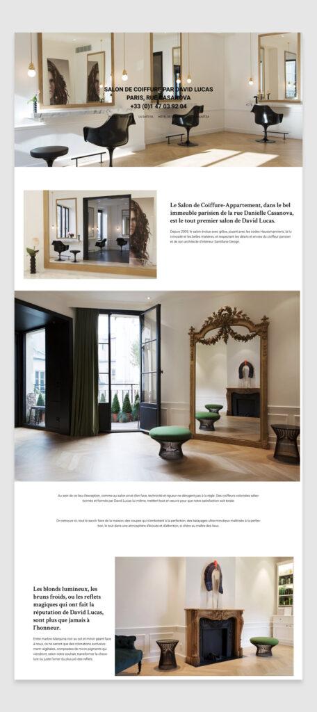 David Lucas Hair Salon website design - location page