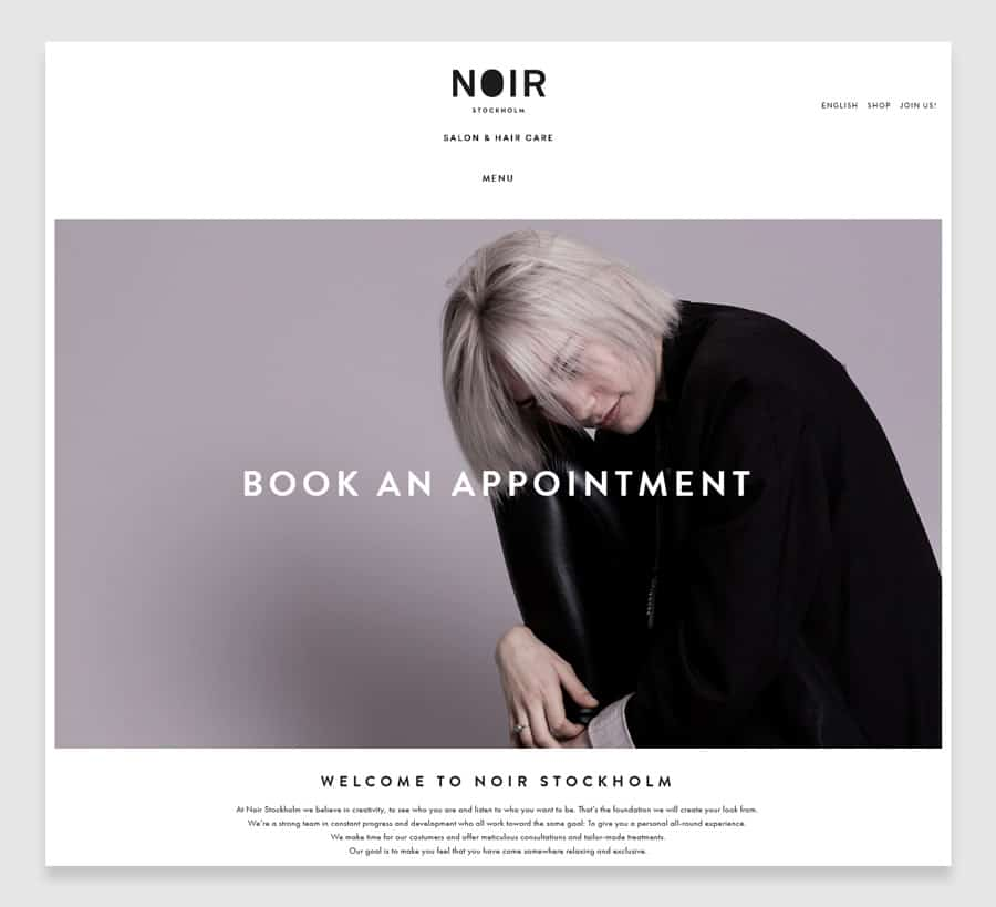 Noir Stockholm Hair salon website design example