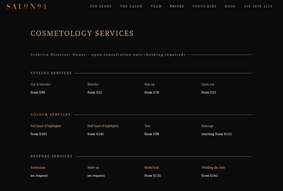 Salon 64 Hair salon website design example service page