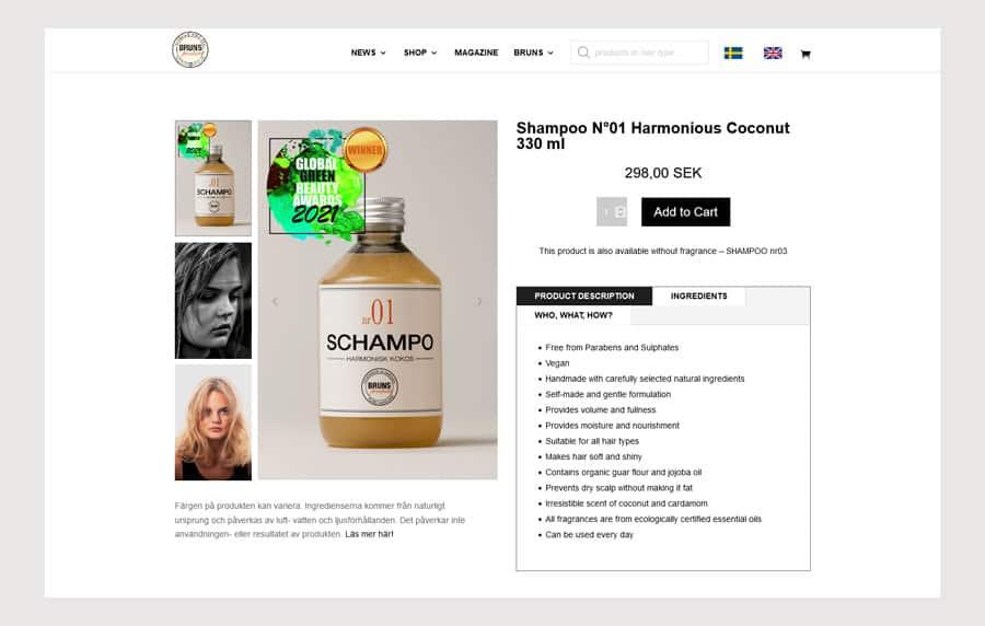 Bruns Frisörer Website Design e-shop