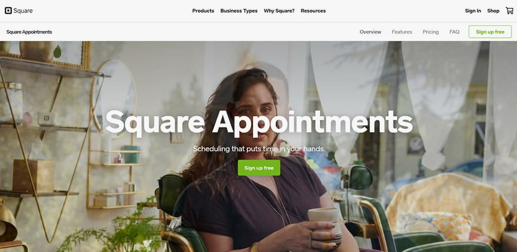 Square Appointments - Image of Website