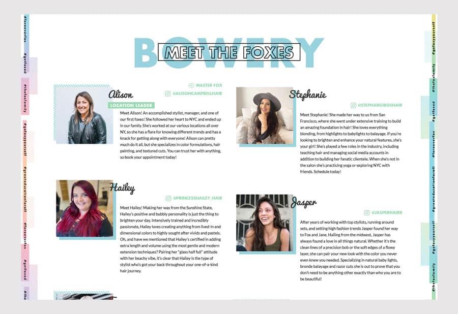 Fox & Jane Salon - Hair salon website design team page example