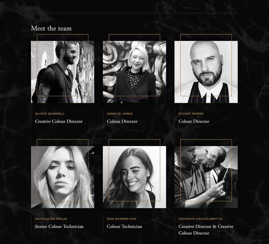 Taylor & Taylor - Hair salon website design example team page