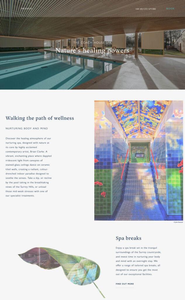 The Coach House Spa Beaverbrook Surrey web design example