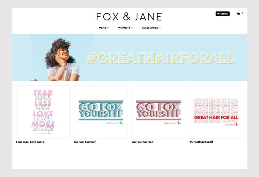 Fox & Jane Salon - Hair salon website design ecommerce example