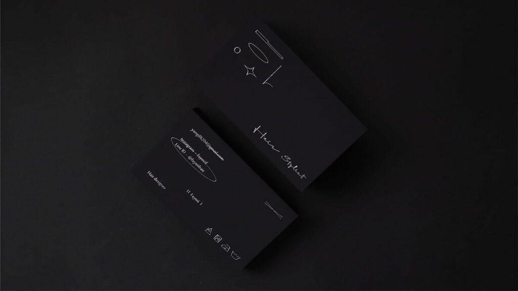 Black hair salon business card