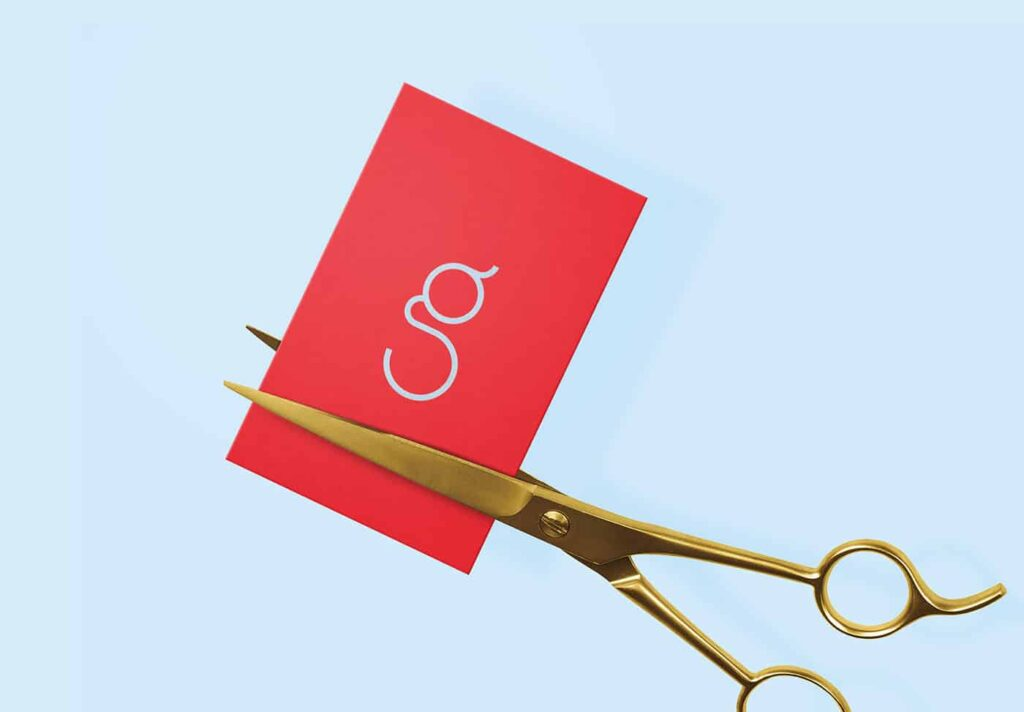 Hair salon business card in red