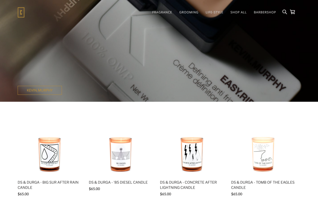 Barbershop website created with Square Online Store
