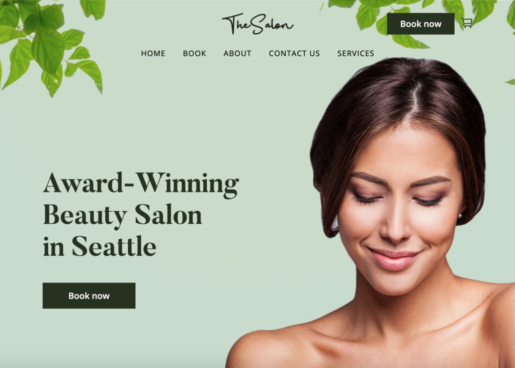 Square online store website example for salon