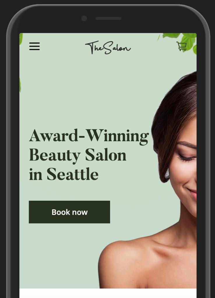 Squareup Website Sample for Salon on mobile