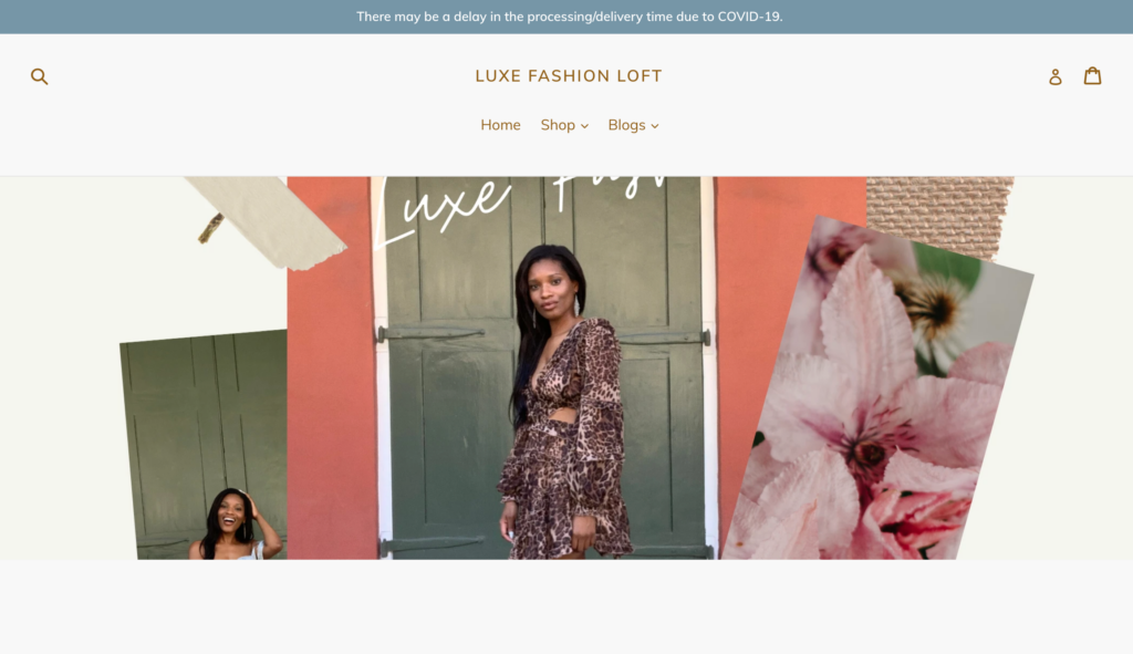 Fashion brand example using squareup for their website