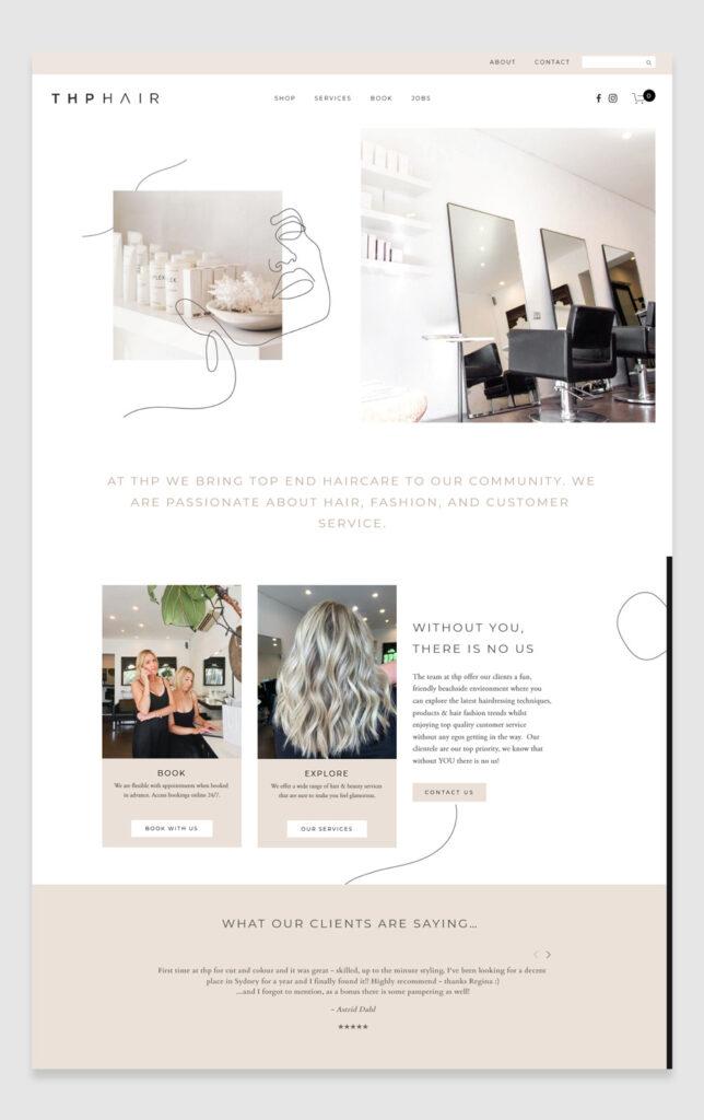 Hair salon website design example - THP Hair