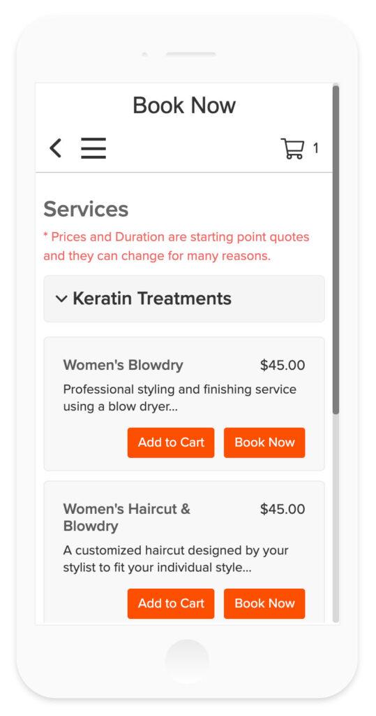 Vagaro online booking on mobile